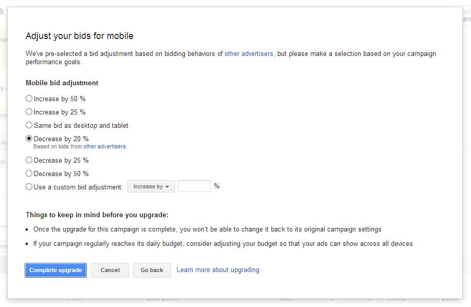 adjust bid for mobile